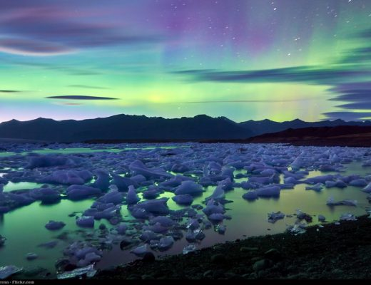 Northern Lights over Glacier Lagoon Iceland